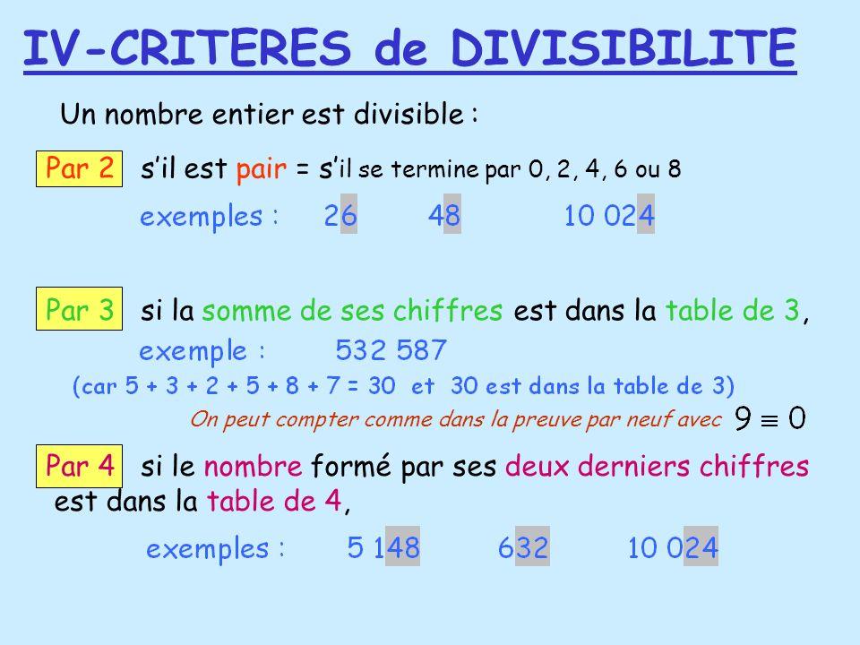 Un nombre entier est divisible : Par 2 sil est pair = s il se termine par 0, 2, 4, 6 ou 8 Par 3 si la somme de ses chiffres est dans la table de 3, Pa