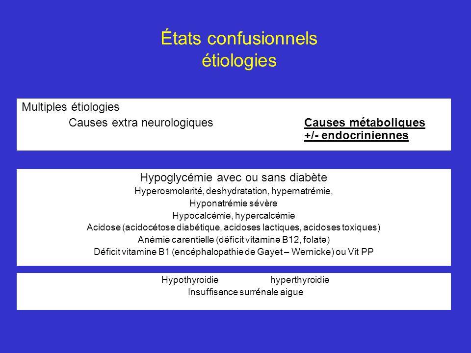 États confusionnels étiologies Multiples étiologies Causes extra neurologiquesCauses métaboliques +/- endocriniennes Hypoglycémie avec ou sans diabète