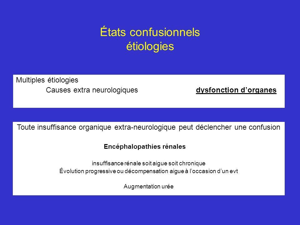 États confusionnels étiologies Multiples étiologies Causes extra neurologiquesdysfonction dorganes Toute insuffisance organique extra-neurologique peu