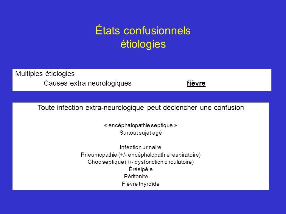 États confusionnels étiologies Multiples étiologies Causes extra neurologiquesfièvre Toute infection extra-neurologique peut déclencher une confusion