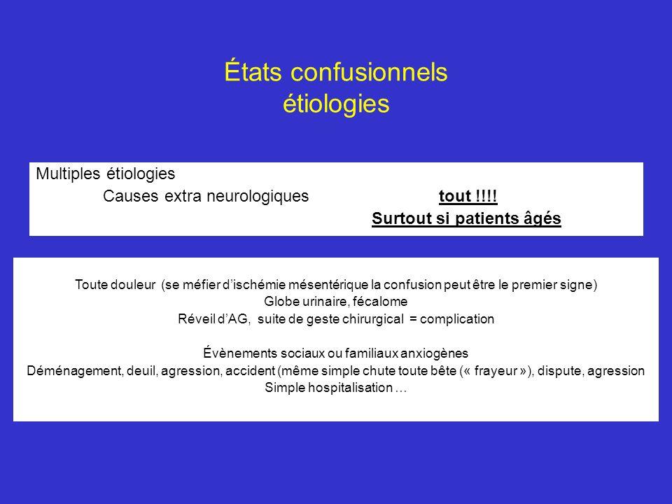 États confusionnels étiologies Multiples étiologies Causes extra neurologiquestout !!!! Surtout si patients âgés Toute douleur (se méfier dischémie mé