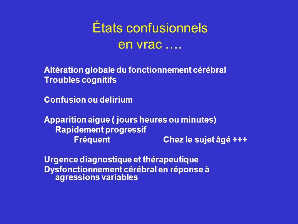 États confusionnels en vrac …. Altération globale du fonctionnement cérébral Troubles cognitifs Confusion ou delirium Apparition aigue ( jours heures