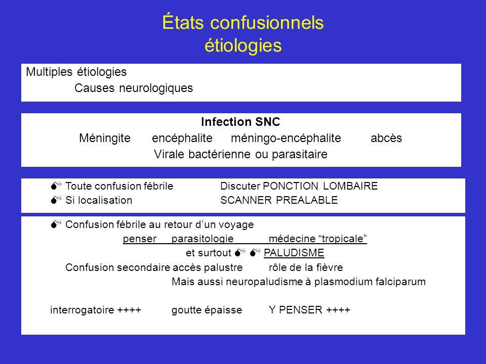 États confusionnels étiologies Multiples étiologies Causes neurologiques Infection SNC Méningite encéphalite méningo-encéphaliteabcès Virale bactérien