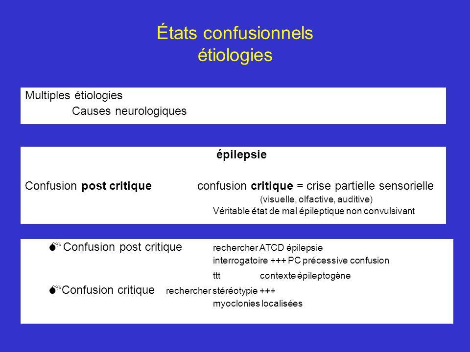 États confusionnels étiologies Multiples étiologies Causes neurologiques épilepsie Confusion post critique confusion critique = crise partielle sensor