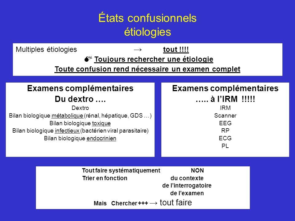 États confusionnels étiologies Multiples étiologies tout !!!! Toujours rechercher une étiologie Toute confusion rend nécessaire un examen complet Exam