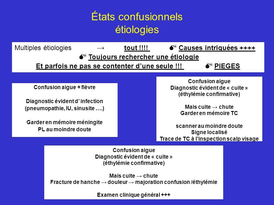 États confusionnels étiologies Multiples étiologies tout !!!! Causes intriquées ++++ Toujours rechercher une étiologie Et parfois ne pas se contenter