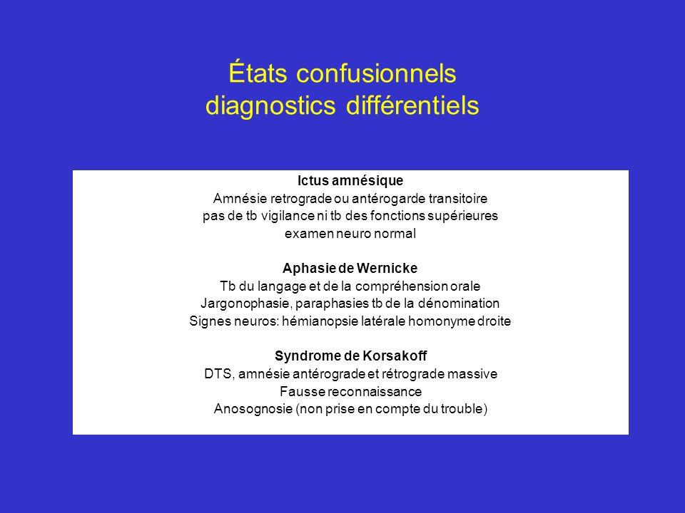 États confusionnels diagnostics différentiels Ictus amnésique Amnésie retrograde ou antérogarde transitoire pas de tb vigilance ni tb des fonctions su