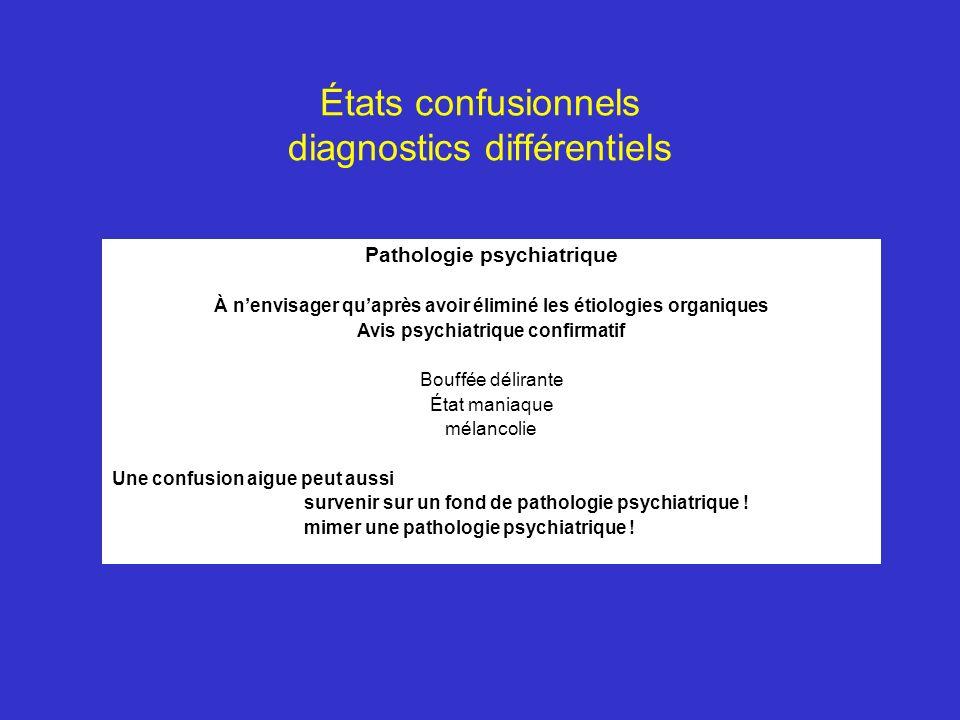 États confusionnels diagnostics différentiels Pathologie psychiatrique À nenvisager quaprès avoir éliminé les étiologies organiques Avis psychiatrique