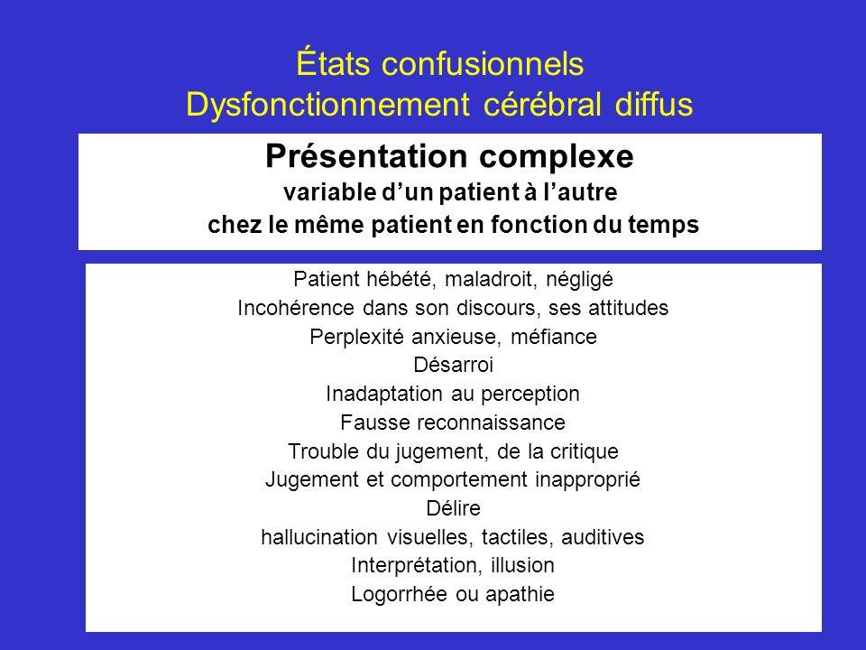 États confusionnels Dysfonctionnement cérébral diffus Présentation complexe variable dun patient à lautre chez le même patient en fonction du temps Pa