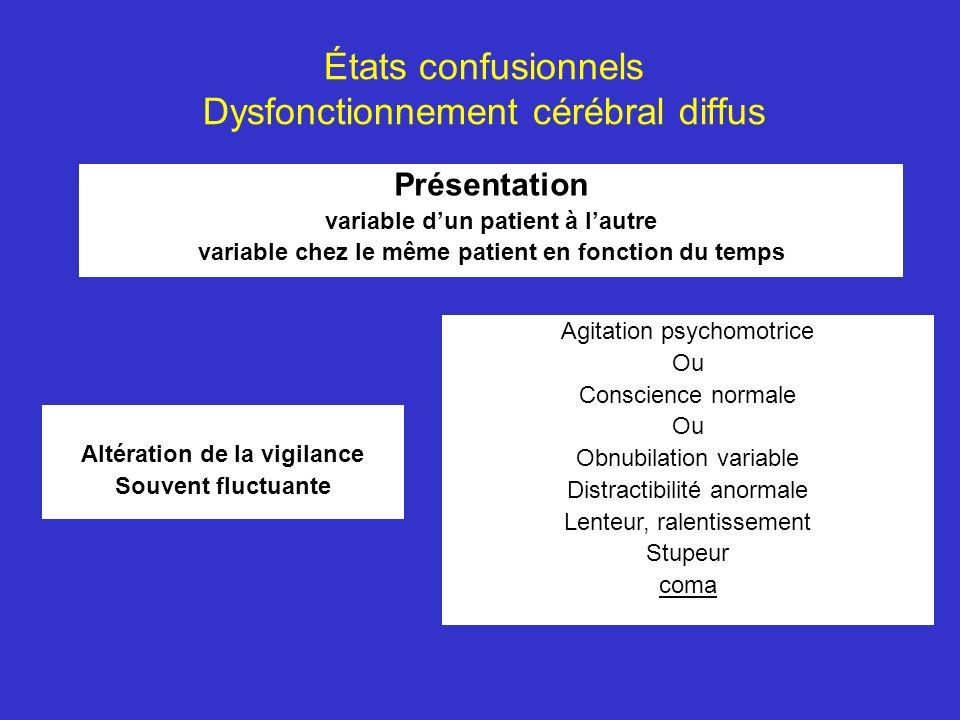États confusionnels Dysfonctionnement cérébral diffus Présentation variable dun patient à lautre variable chez le même patient en fonction du temps Al