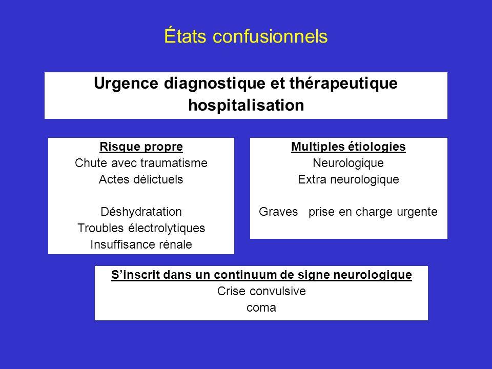 États confusionnels Urgence diagnostique et thérapeutique hospitalisation Sinscrit dans un continuum de signe neurologique Crise convulsive coma Risqu