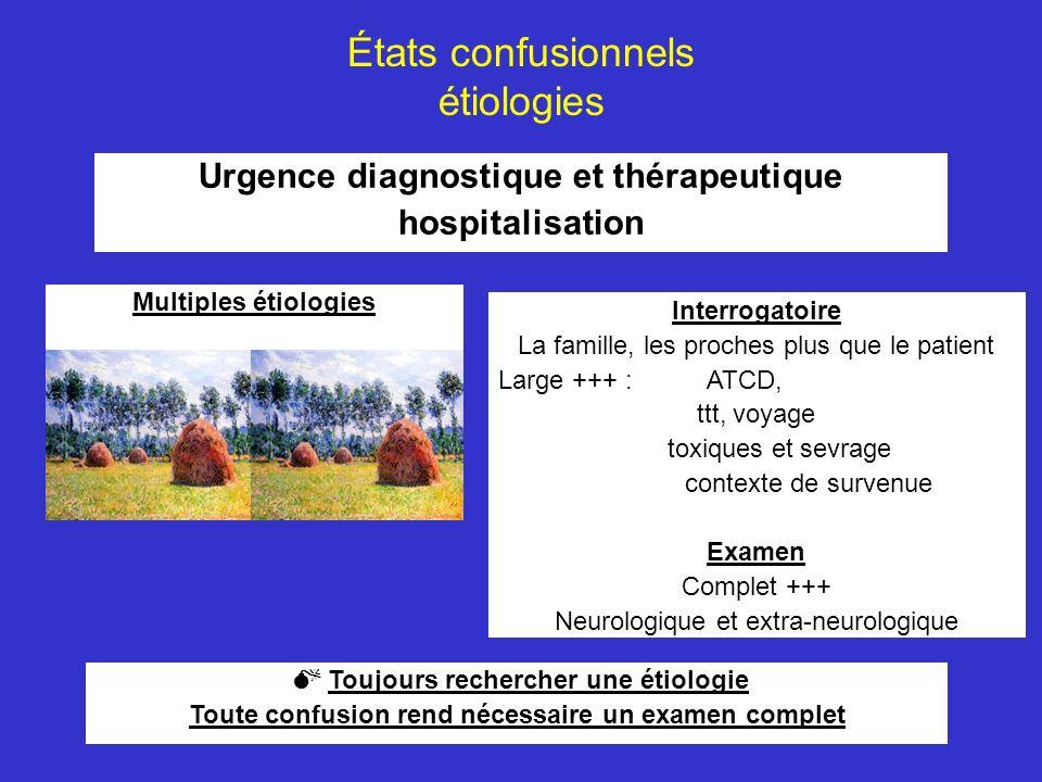 États confusionnels étiologies Urgence diagnostique et thérapeutique hospitalisation Interrogatoire La famille, les proches plus que le patient Large