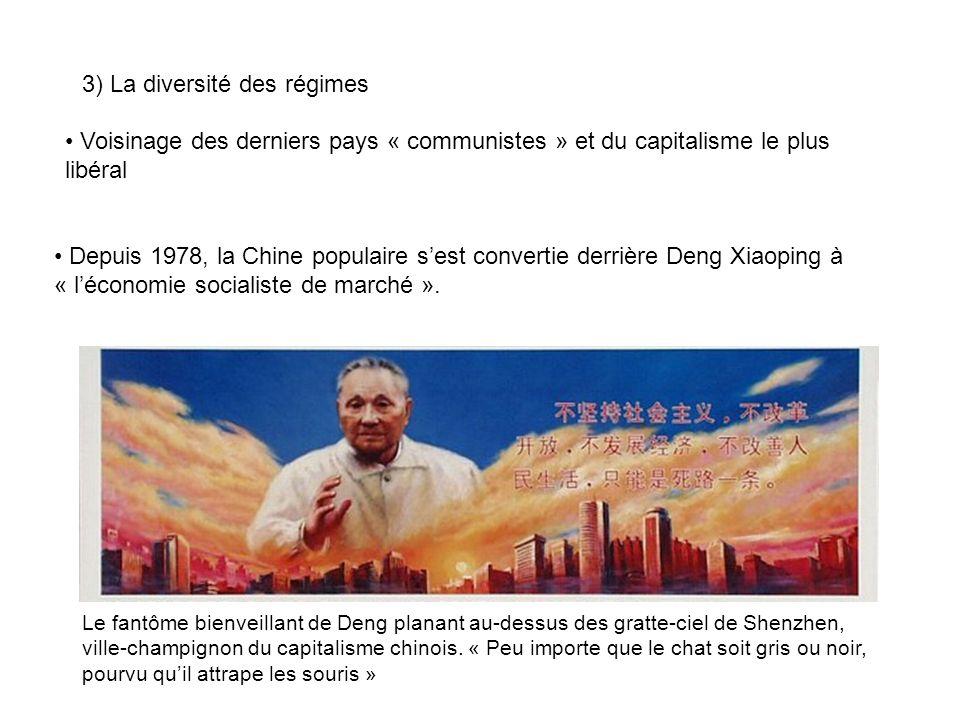 3) La diversité des régimes Voisinage des derniers pays « communistes » et du capitalisme le plus libéral Depuis 1978, la Chine populaire sest convert