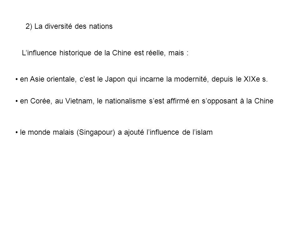 2) La diversité des nations Linfluence historique de la Chine est réelle, mais : en Asie orientale, cest le Japon qui incarne la modernité, depuis le