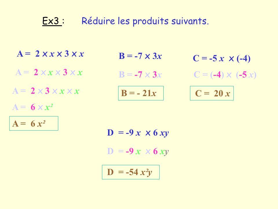 Ex3 :Réduire les produits suivants. A = 2 x x x 3 x x A = 2 x 3 x x x x A = 6 x x² A = 6 x² B = -7 x 3x B = - 21x C = -5 x x (-4) C = (-4) x (-5 x) C
