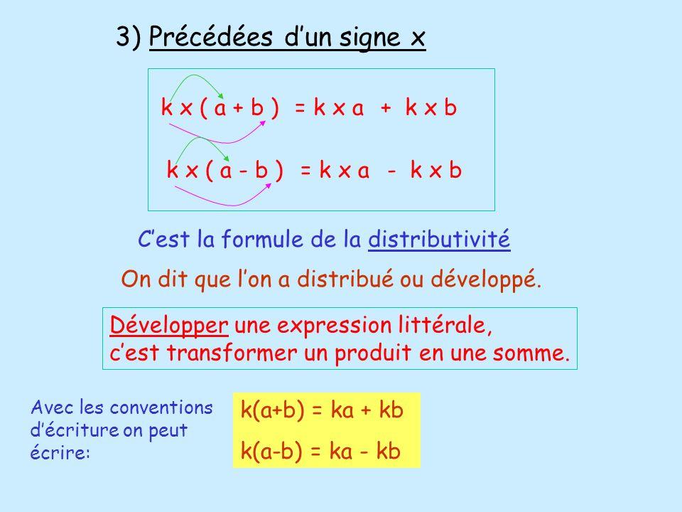 Développer une expression littérale, cest transformer un produit en une somme. 3) Précédées dun signe x k x ( a + b )= k x a+ k x bk x ( a - b )= k x