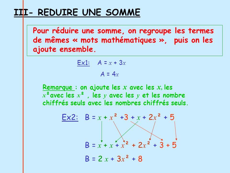 III- REDUIRE UNE SOMME Pour réduire une somme, on regroupe les termes de mêmes « mots mathématiques », puis on les ajoute ensemble. Remarque : on ajou