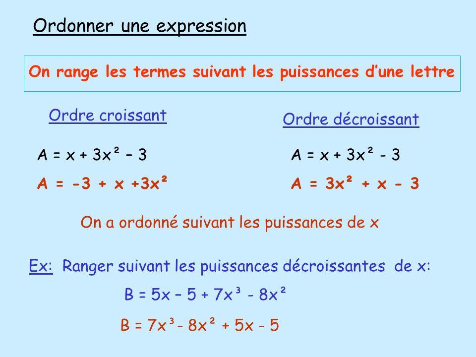 Ordonner une expression On range les termes suivant les puissances dune lettre A = x + 3x² – 3 A = -3 + x +3x² Ordre croissant A = x + 3x² - 3 A = 3x²