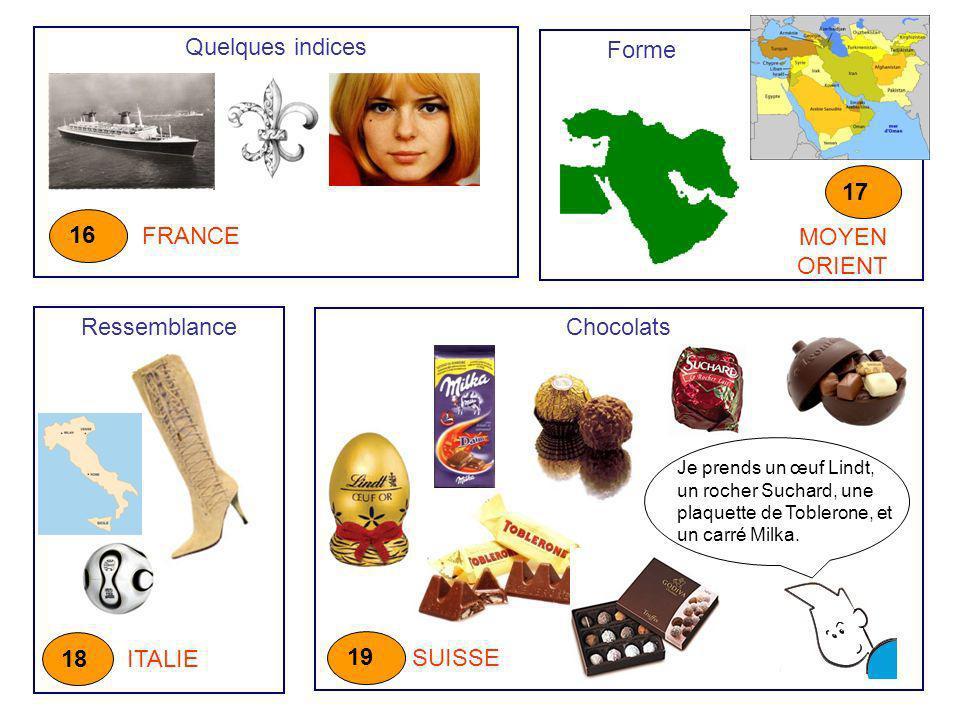 Quelques indices FRANCE 16 Ressemblance ITALIE 18 Chocolats SUISSE 19 Je prends un œuf Lindt, un rocher Suchard, une plaquette de Toblerone, et un car