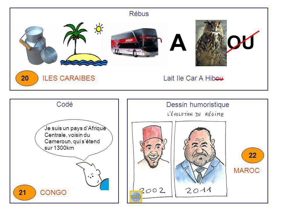 A OU Rébus ILES CARAIBES 20 Je suis un pays dAfrique Centrale, voisin du Cameroun, qui sétend sur 1300km CONGO 21 Codé Dessin humoristique MAROC 22 La
