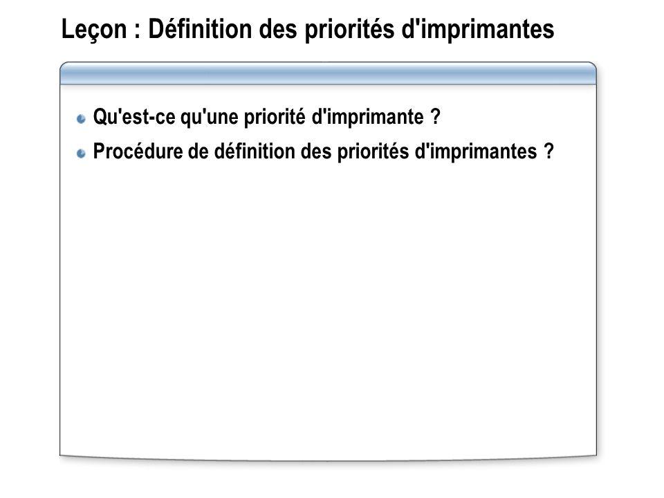 Procédure de configuration d un pool d impression Le formateur va montrer comment configurer un pool d impression