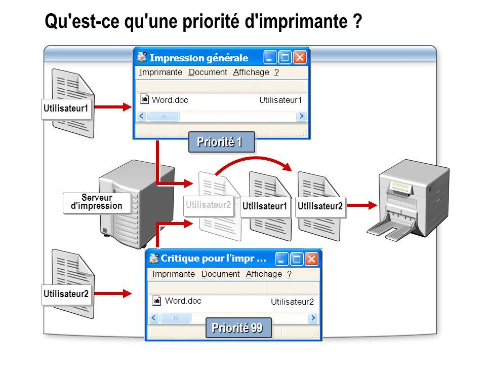 Critique pour l impr … Word.doc Utilisateur2 Priorité 99 Procédure de définition des priorités d imprimantes .