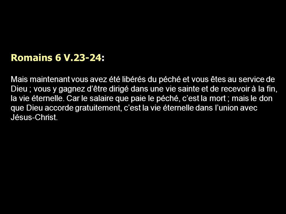 Romains 6 V.23-24: Mais maintenant vous avez été libérés du péché et vous êtes au service de Dieu ; vous y gagnez dêtre dirigé dans une vie sainte et