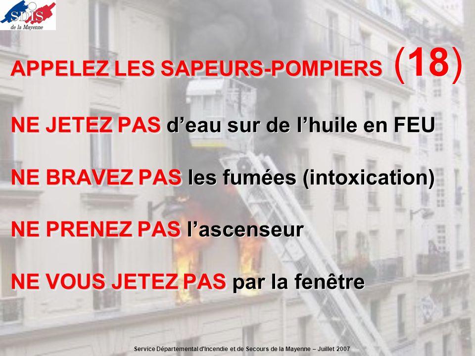 APPELEZ LES SAPEURS-POMPIERS APPELEZ LES SAPEURS-POMPIERS (18) NE JETEZ PAS NE JETEZ PAS deau sur de lhuile en FEU NE BRAVEZ PAS NE BRAVEZ PAS les fum