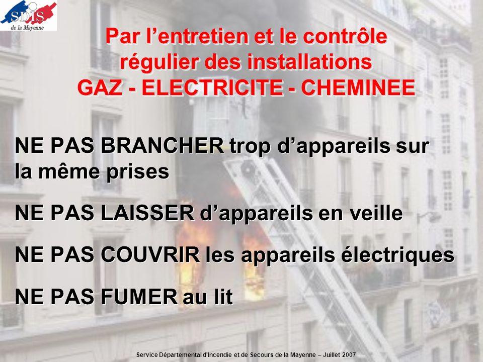 Par lentretien et le contrôle régulier des installations GAZ - ELECTRICITE - CHEMINEE NE PAS BRANCHER trop dappareils sur la même prises NE PAS LAISSE