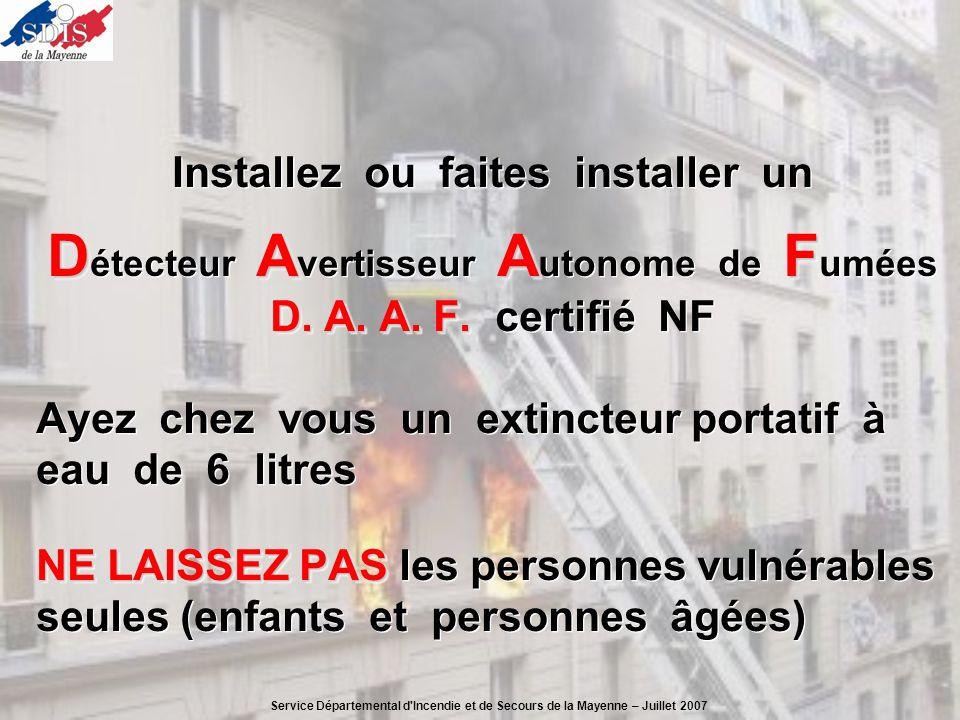 Installez ou faites installer un DAAF D étecteur A vertisseur A utonome de F umées D. A. A. F. D. A. A. F. certifié NF Ayez chez vous un extincteur po