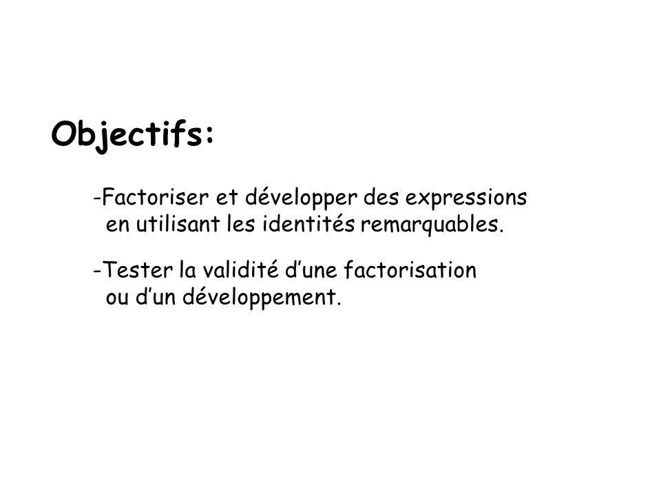 Objectifs: -Factoriser et développer des expressions en utilisant les identités remarquables. -Tester la validité dune factorisation ou dun développem