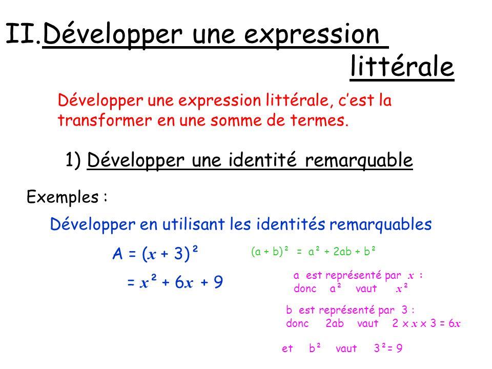 II.Développer une expression littérale Développer une expression littérale, cest la transformer en une somme de termes. 1) Développer une identité rem