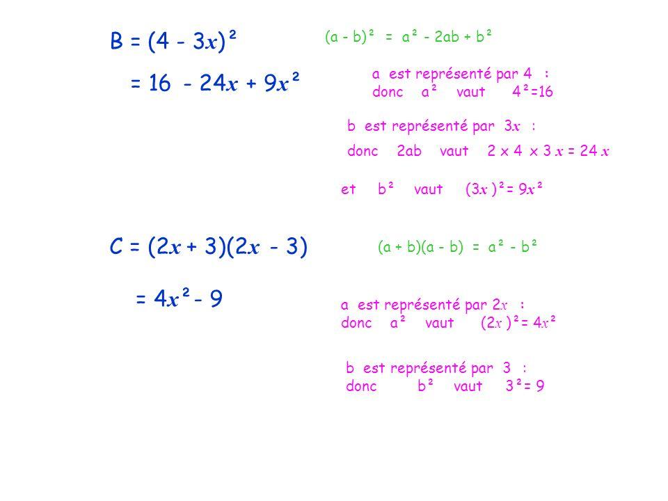 B = (4 - 3 x )² (a - b)² = a² - 2ab + b² a est représenté par 4 : donc a² vaut 4²=16 = 16 b est représenté par 3 x : donc 2ab vaut 2 x 4 x 3 x = 24 x