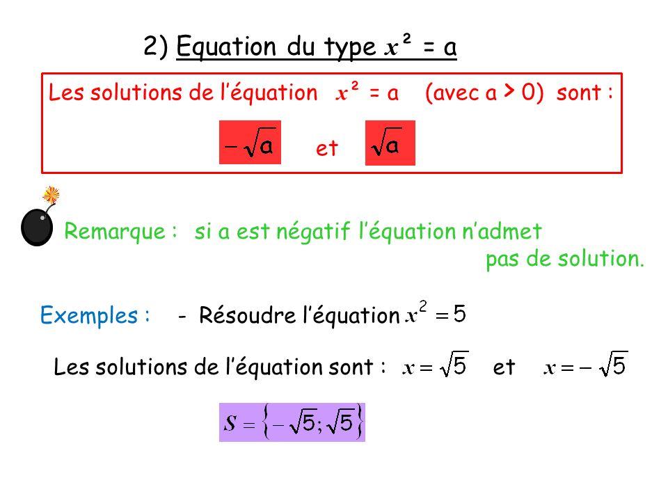 2) Equation du type x ² = a Les solutions de léquation x ² = a (avec a > 0) sont : et Remarque : si a est négatif léquation nadmet pas de solution. Ex