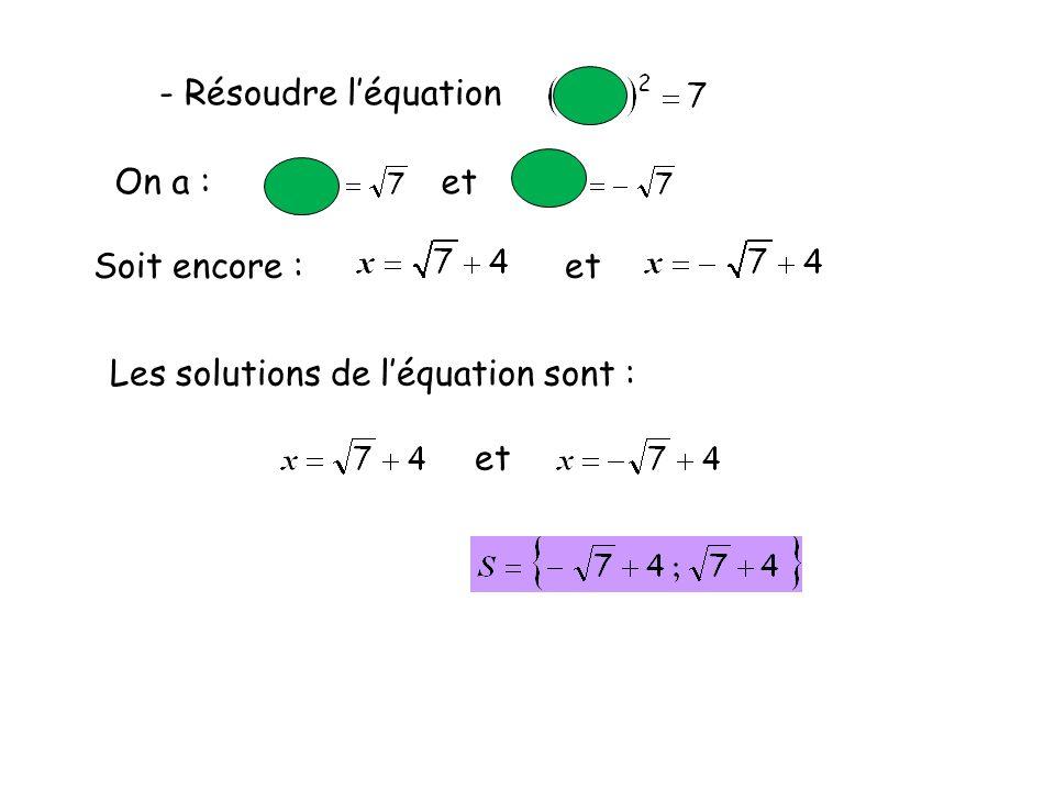 - Résoudre léquation On a : et Les solutions de léquation sont : et Soit encore : et