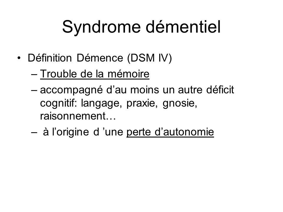 Syndrome démentiel Définition Démence (DSM IV) –Trouble de la mémoire –accompagné dau moins un autre déficit cognitif: langage, praxie, gnosie, raison