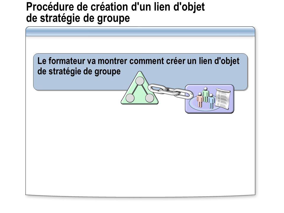 Procédure de création d'un lien d'objet de stratégie de groupe Le formateur va montrer comment créer un lien d'objet de stratégie de groupe