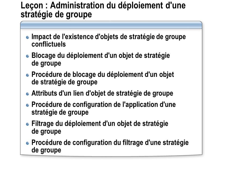Leçon : Administration du déploiement d'une stratégie de groupe Impact de l'existence d'objets de stratégie de groupe conflictuels Blocage du déploiem
