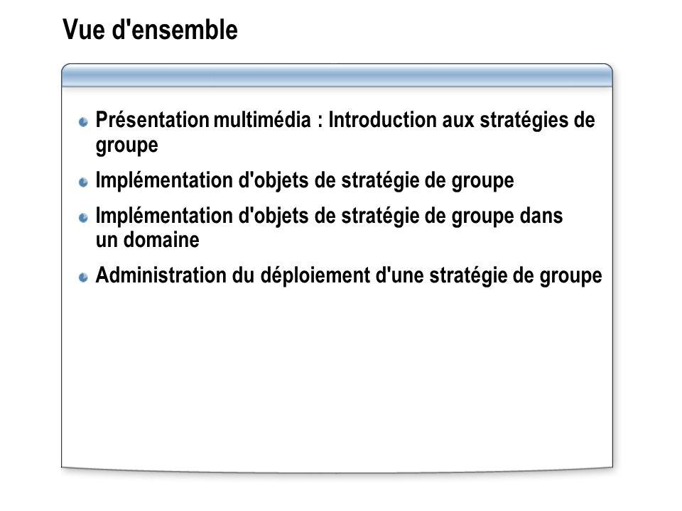 Vue d ensemble Présentation multimédia : Introduction aux stratégies de groupe Implémentation d objets de stratégie de groupe Implémentation d objets de stratégie de groupe dans un domaine Administration du déploiement d une stratégie de groupe