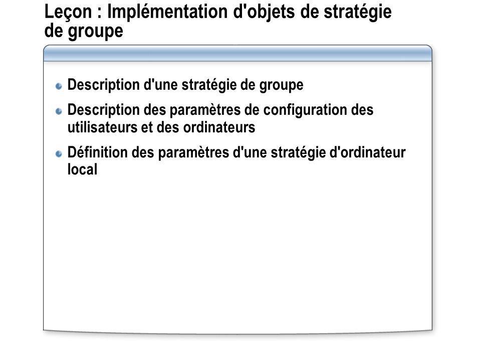 Leçon : Implémentation d objets de stratégie de groupe Description d une stratégie de groupe Description des paramètres de configuration des utilisateurs et des ordinateurs Définition des paramètres d une stratégie d ordinateur local