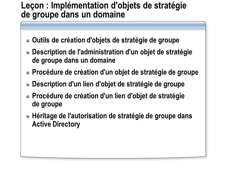 Leçon : Implémentation d'objets de stratégie de groupe dans un domaine Outils de création d'objets de stratégie de groupe Description de l'administrat