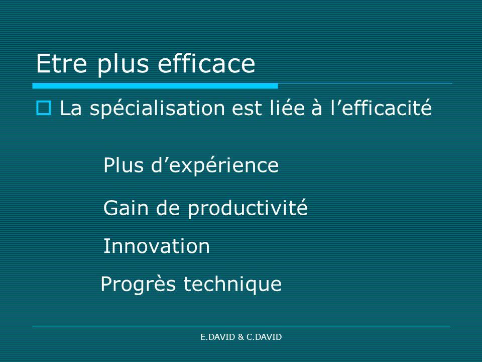 E.DAVID & C.DAVID Etre plus efficace La spécialisation est liée à lefficacité Plus dexpérience Gain de productivité Innovation Progrès technique