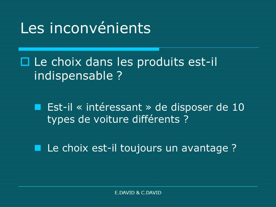 E.DAVID & C.DAVID Les inconvénients Le choix dans les produits est-il indispensable ? Est-il « intéressant » de disposer de 10 types de voiture différ