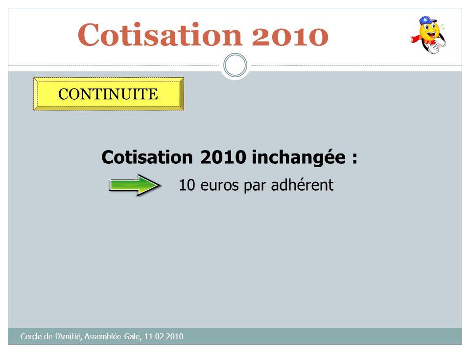 OBJECTIF 2010 Cercle de l'Amitié, Assemblée Gale, 11 02 2010 CONTINUITE PERENNISER LES DEVELOPPEMENTS 2009