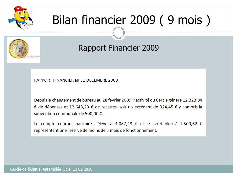 Bilan financier 2009 Cercle de l'Amitié, Assemblée Gale, 11 02 2010