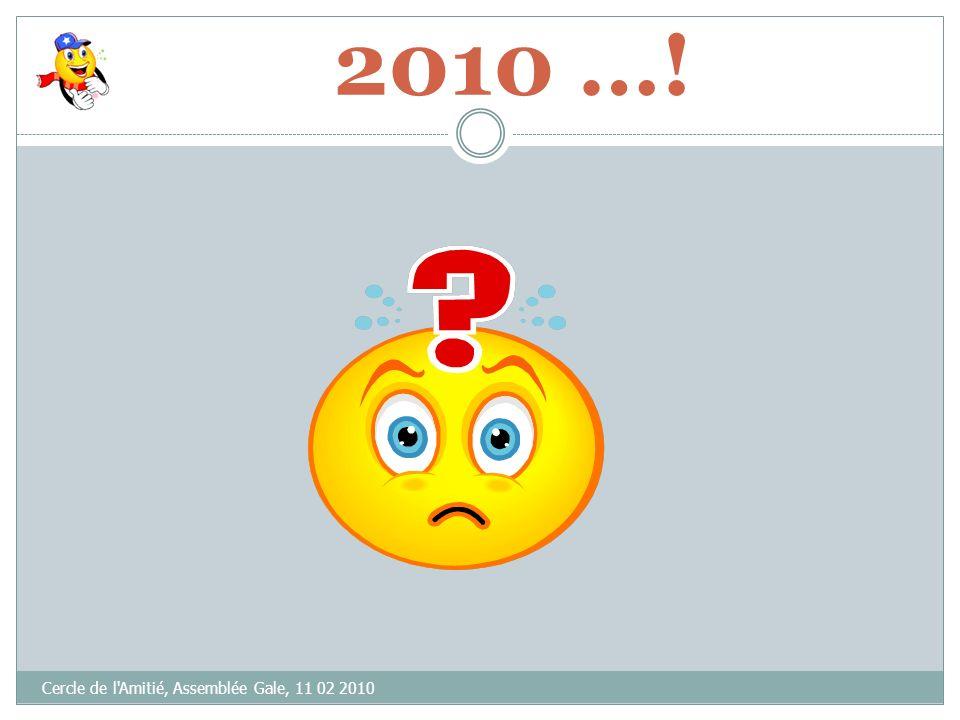 Cercle de l'Amitié, Assemblée Gale, 11 02 2010 VOTE(S) « CONTRE »= ABSTENTION(S)= VOTE(S) « POUR » = Bilan Financier 2009 (9 mois)