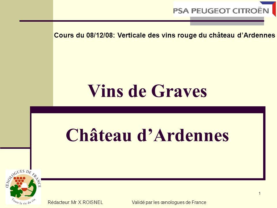 1 Vins de Graves Château dArdennes Cours du 08/12/08: Verticale des vins rouge du château dArdennes Rédacteur: Mr X.ROISNEL Validé par les œnologues d