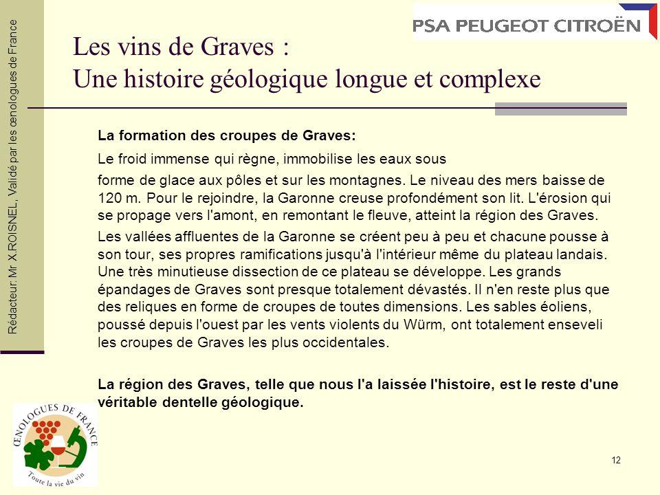 12 Les vins de Graves : Une histoire géologique longue et complexe La formation des croupes de Graves: Le froid immense qui règne, immobilise les eaux