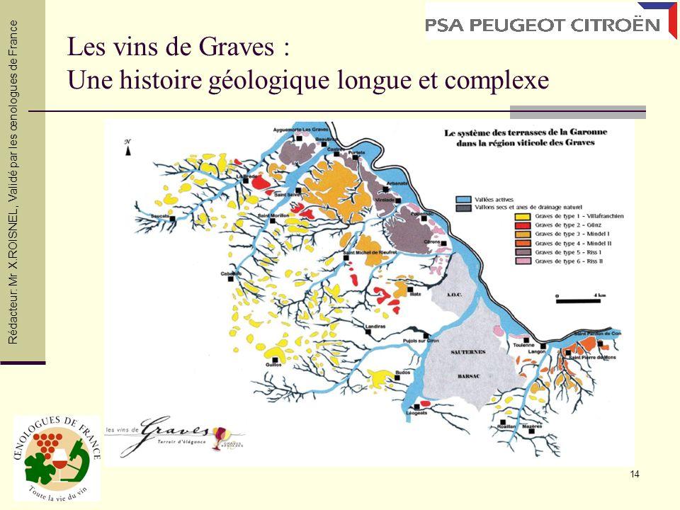 14 Les vins de Graves : Une histoire géologique longue et complexe Rédacteur: Mr X.ROISNEL, Validé par les œnologues de France