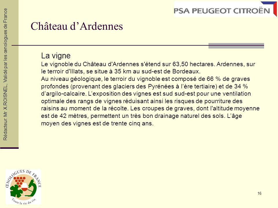 16 Château dArdennes Rédacteur: Mr X.ROISNEL, Validé par les œnologues de France La vigne Le vignoble du Château d'Ardennes s'étend sur 63,50 hectares